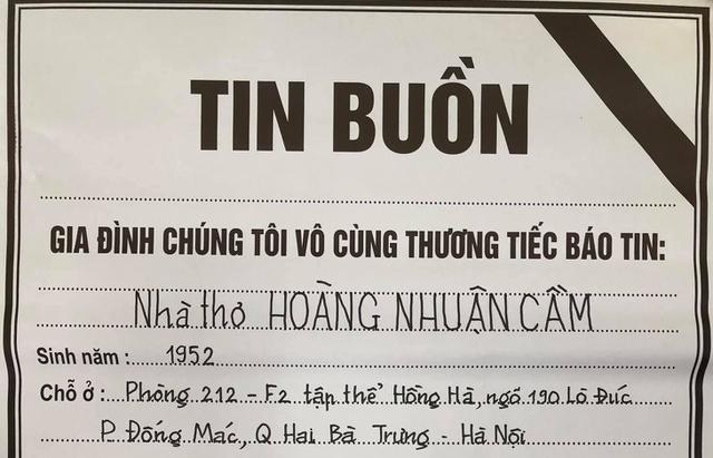 Thông tin về tang lễ nhà thơ Hoàng Nhuận Cầm