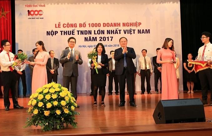 bsr dung thu 33 trong top 1000 doanh nghiep nop thue tndn lon nhat 2017
