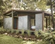 Ngôi nhà tiện nghi có tường được đúc từ thùng carton tái chế