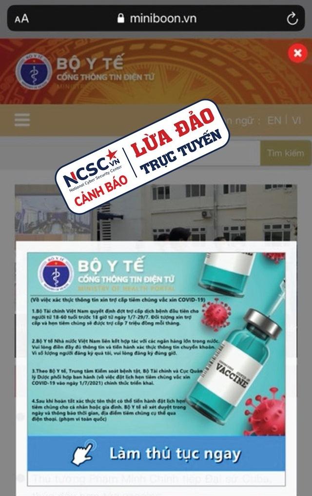 Cảnh báo giả mạo website của Bộ Y tế để lừa đảo trợ cấp Covid-19